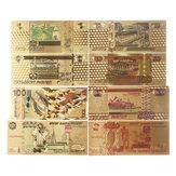 8 Teile / satz Russland Rubel Banknote Goldene Papier Poster Geld Russische Handwerk