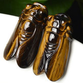 Natural Tiger's Eye Stone Crystal Carved Cicada Healing Gemstone Pendant Gift Decorations