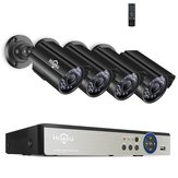 Hiseeu 8CH 5MP AHD DVR 4 PCS CCTV Kamera Sistem Keamanan Kit Luar Tahan Air Video Surveillance 3.6mm Lens