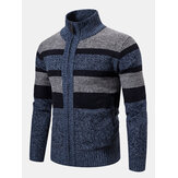 Mens Woolen Knitting Stand Collar Patchwork Jaket Kasual Tebal