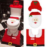 3 stks Kerst Xmas Decoratie Santa Toiletbril Cover + Tapijt Badkamer Mat Set Vloermat