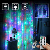 3M*2M USB 8 Modes Remote Control 200 LED Curtain String Light with 10 Hooks Festival Christmas Wedding Decor Christmas Decorations Clearance Christmas Lights