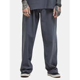 Mens Plus Size Casual Baggy Cotton Linen Striaght Pants Solid Color Loose Fit Wide Leg Pants