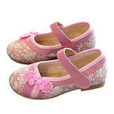 Girls Folkways Embroidered Stitching Hook Loop Flat Cloth Shoes Baby Shoes