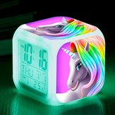 7 Colors Digital Alarm Clock Cute LED Table Clock Time Date Temperature Display Home Decorations