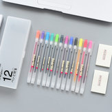YOUFAN YF18-142 Creative Simple Translucent Scrub Stationery Pencil Case with 12-color Pens and 2 Sticky Notes