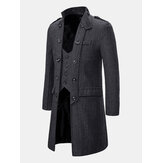 Mens Vintage Botões Stand Collar Grosso Casual Mid Long Coat