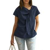 S-5XL Kadın Yaz Kısa Kollu Gevşek Düz Casual Gömlek