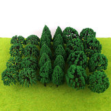 30 / 50Pcs Mini Green Trees Architecture Micro Landscape Scenery Railway Model Decorations