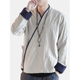 Men's Chinese Style Retro Ethnic Style Long Sleeved Shirts