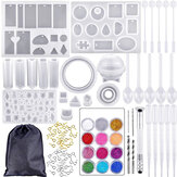 159Pcs Silicone Casting Molds and Tools Jewelry Pendant Resin Mould With Bag DIY