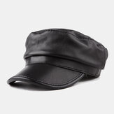 Leather Hat Casual Sheepskin Octagonal Hat Beret