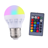 3W E27 RGB + White LED Globe Light Bulb + Remote Control for Indoor Home Bedroom Decor