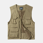Mens Outdoor Multi Pockets Zipper Single Breasted Vest