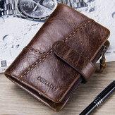 Men Genuine Leather Vinatge Zipper Wallet Card Holder