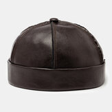 Men's Skull Caps Leather Hats Wave Caps Brimless Cap