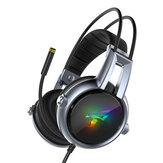 Somic E95-20 Fone de ouvido para jogos virtual 7.1 USB Soft Vibração estéreo flexível com fio sobre Orelha Fone de ouvido com microfone com luz RGB LED
