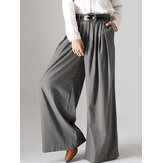 Frauen Solid Button Wide Leg Pocket Causal Pants