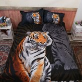 Bed Quilt Doona Duvet Cover Set Bedding Sets Black Polyester Tiger