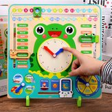 教育木製玩具子供学校カレンダー時計天気学習ボード