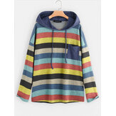 Multi-color Striped Patchwork Long Sleeve Hoodies