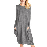Women Pure Color Long Sleeve Casual Loose Midi Dress