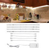 DC12V 4PCS 30CM LED Cabinet Strip Light with 4Pin 0.5A US Plug Power Adapter for Kitchen Stairs Wardrobe Bed Closet