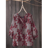 Women 3/4 Sleeve O Neck Casual Loose Print Blouse