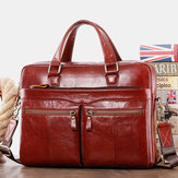 Wielowarstwowa torebka biznesowa z prawdziwej skóry w stylu retro Vintage Retro