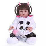 NPK 48CM Handmade Soft Silicone Realistic Baby in Panda Dress Full Body Reborn Baby Doll