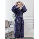 Longline Hooded Long Sleeve Flannel Bath Robe