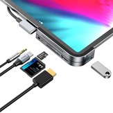 Baseus Type-C USB-C Hub Adapter Converter With USB 3.0 Port/Type-C Port/4K HD Video Interface/3.5mm Audio Interface/Memory Card Readers For Smart Phone Tablet Samsung S10+ iPad Pro 2018 MacBook Pro