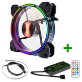 Coolmoon 12cm 1 Fan Colourful RGB LED Ring PC 12cm Case Cooling Fan and Controller LED Light Bar