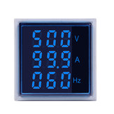 5pcs Geekcreit® 3 in 1 AC 60-500V 100A Square Blue LED Digital Voltmeter Ammeter Hertz Meter Signal Lights Voltage Current Frequency Combo Meter Indicator Tester With Round CT
