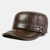 Heren Winter Warme Lederen Platte Hoeden Winddicht Outdoor Toplaag Lederen Trucker Hoeden