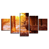 HD spray painting wall painting 5 pieces forest elk paints pictures canvas home decorations painting mural