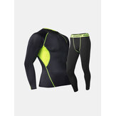 Pro Sports Fitness Suit Mens Breathable Thermal Quick Dry Tight Elastic Outdoor Running Training Suits