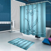 1/3/4PCS Transparent Lily Waterproof Bathroom Shower Curtain Toilet Cover Mat Non-Slip Floor Mat Rug Bathroom Set with 12 Hooks