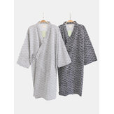 Mens Drawstring Japanese Kimono Cotton Sleepwear Robes