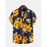 Mens zonnebloem bedrukte 100% katoen Fit losse causale Shirts