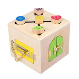 Wooden Montessori Practical Material Little Lock Box Kids Early Educational Toys