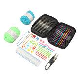 31 Pçs / CONJUNTO Kit de ferramentas de malha de tricô de ganchos de crochê com calibre ganchos de aço para fios de agulhas
