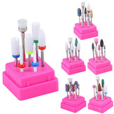 7pcs Nail Drill Bits Container Box Grinding Remove UV Gel Auroras Nail Art Design Tools Set