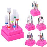 7 piezas Uña Taladro Bits Contenedor Caja Rectificado Quitar UV Gel Auroras Uña Art Diseño herramientas Set
