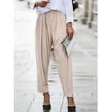 Women Casual Pleated Loose Solid Pocket Pants