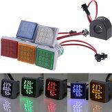 Geekcreit® 3 em 1 AC 60-500V 100A Voltímetro Amperímetro HZ Hertz Medidor de frequência 22 mm Amp de tensão de corrente digital Luz de sinal LED Indicador de lâmpada com CT