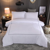 3 PCS Bedding Sets Solid Color With Embroidery Quilt Cover Pillowcase For Double Bed Size