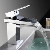 Banyo Şelale Havzası Evye Bataryası Kare Sıcak Soğuk Su Mikser Dokunun Krom