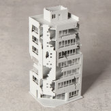 N Scale 1/144 White Damaged Ruined Building after War GUNDAM Scene Model Building
