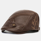 Men's Artificial Leather Printing Beret Caps Casual Newsboy Cap Warm Hats